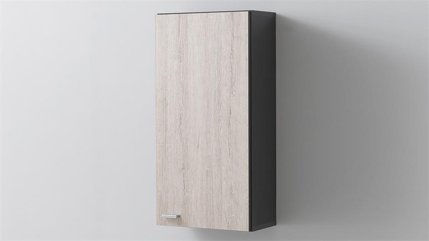 Badezimmer-Set 1 NEPAL anthrazit Oregon Eiche inkl. LED
