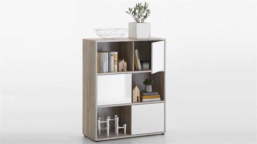 Regal Futura 1 UP Aktenregal Bücherregal Sandeiche weiß und Hochglanz