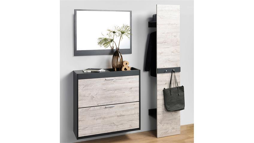 Garderobe TELESTO anthrazit Sandeiche mit Spiegel 3-teilig