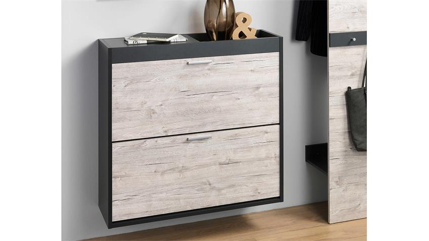 garderobe telesto anthrazit sandeiche mit spiegel 3 teilig. Black Bedroom Furniture Sets. Home Design Ideas