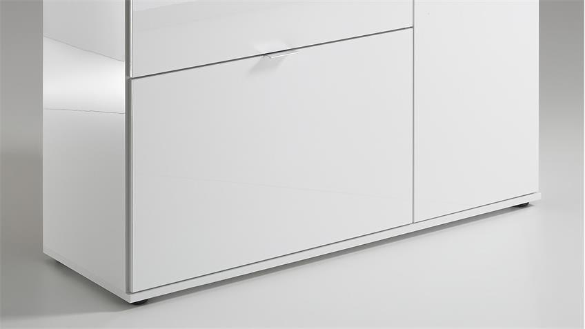 Mehrzweckkommode COMBI 2 UP in weiß Hochglanz und Sandeiche
