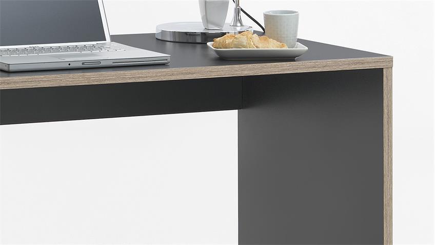 Schreibtisch ELIAS in anthrazit und Eiche 138x58 cm