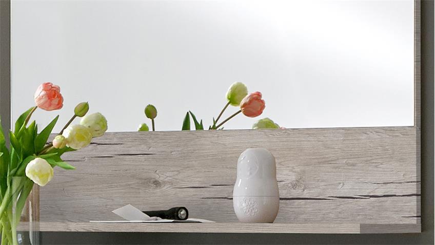 Garderobenspiegel SHANGHAI UP Wandspiegel mit Ablage Sandeiche
