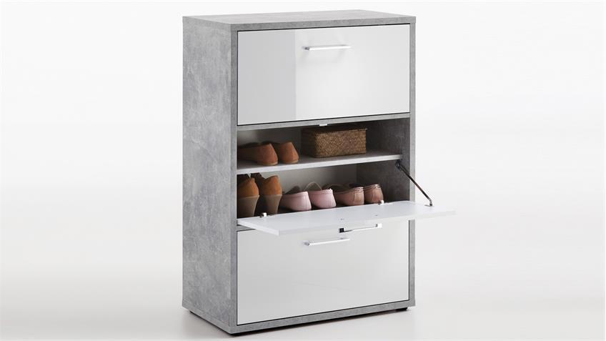 mehrzweckschrank porto 1 schrank in betonoptik und wei hochglanz. Black Bedroom Furniture Sets. Home Design Ideas