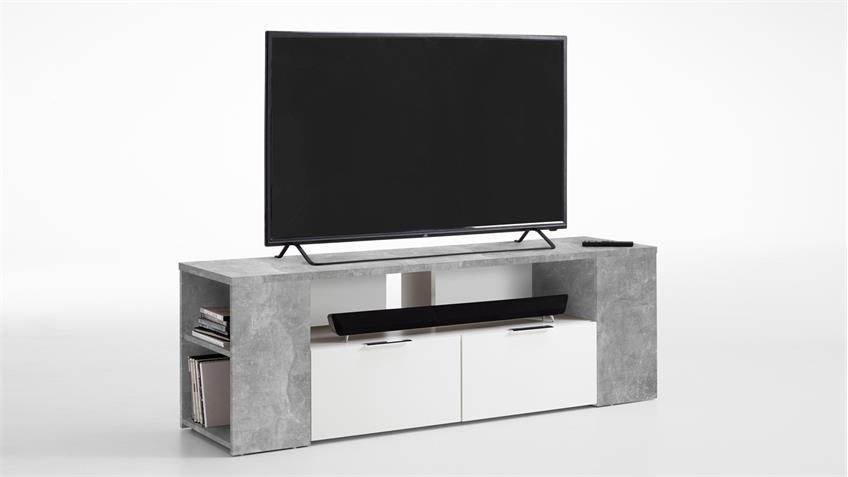 tv board tabor 1 in beton optik und wei mit 6 offenen f chern 150 cm. Black Bedroom Furniture Sets. Home Design Ideas
