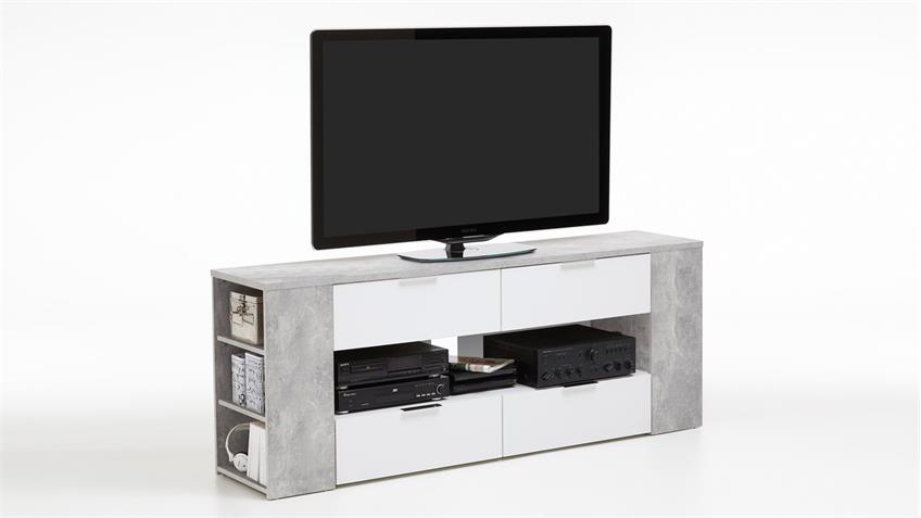 tv board tabor 4 in beton optik und wei mit 7 offenen. Black Bedroom Furniture Sets. Home Design Ideas