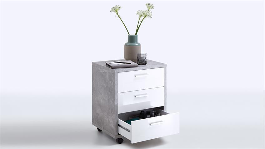rollcontainer brick rollwagen b rocontainer beton und wei hochglanz. Black Bedroom Furniture Sets. Home Design Ideas