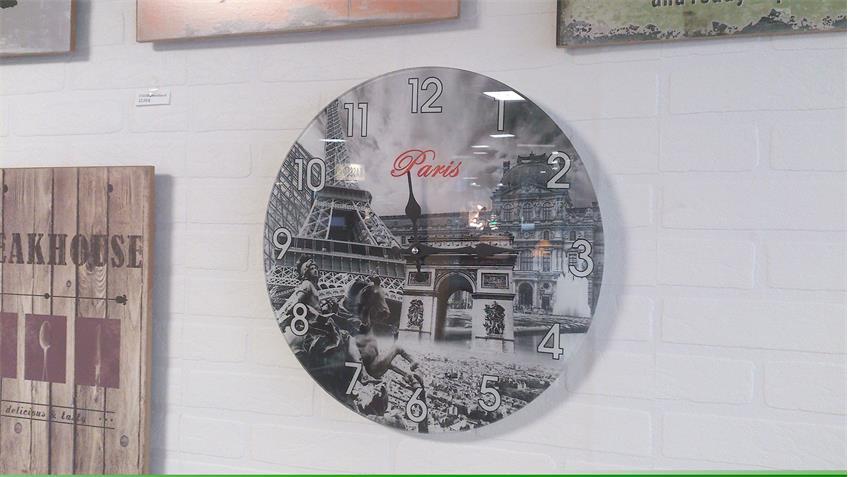 Wanduhr Motiv Paris dekorative Uhr Glas bedruckt