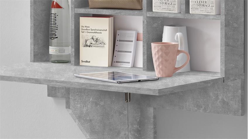 klapptisch mit regal arto 2 wandklapptisch in betonoptik wei. Black Bedroom Furniture Sets. Home Design Ideas
