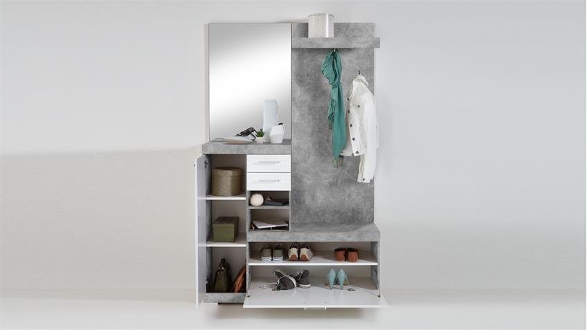 Garderobe BRISTOL 1000 Dielenschrank in Beton und weiß Edelglanz