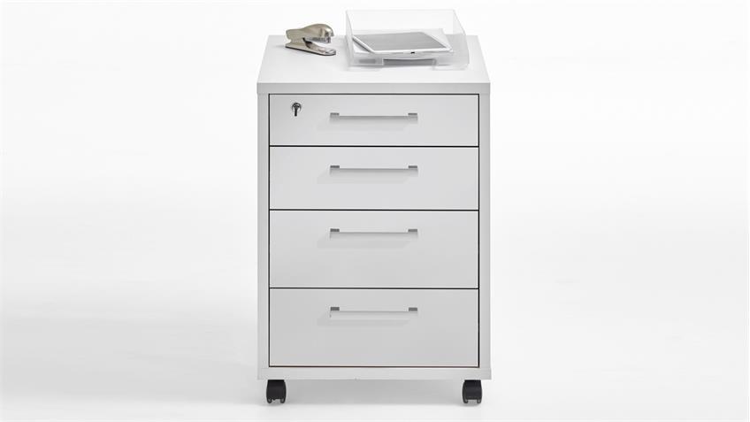 Rollcontainer CALVIA 4 Bürocontainer in weiß abschließbar