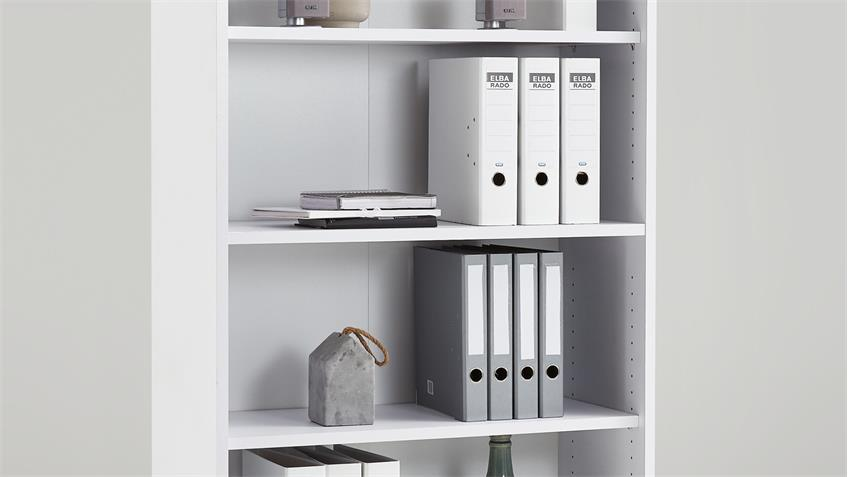 Regal Calvia 8 in weiß Arbeitszimmer Büro Aktenregal