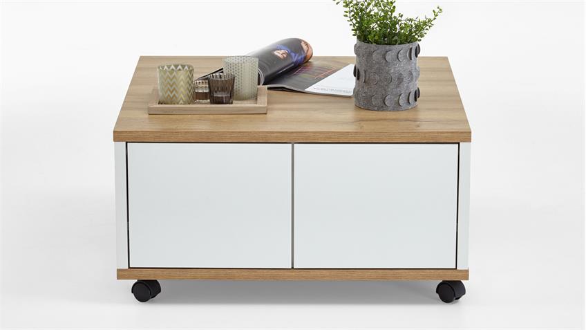 couchtisch twin wohnzimmertisch auf rollen in alteiche wei edelglanz. Black Bedroom Furniture Sets. Home Design Ideas