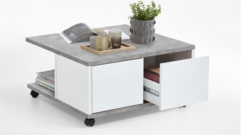 couchtisch twin wohnzimmertisch auf rollen beton grau wei edelglanz. Black Bedroom Furniture Sets. Home Design Ideas