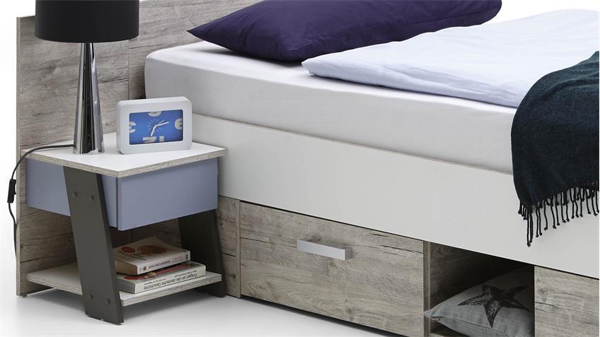 Jugendbett NONA Bett Bettanlage mit Nachtkommode Sandeiche 90x200 cm