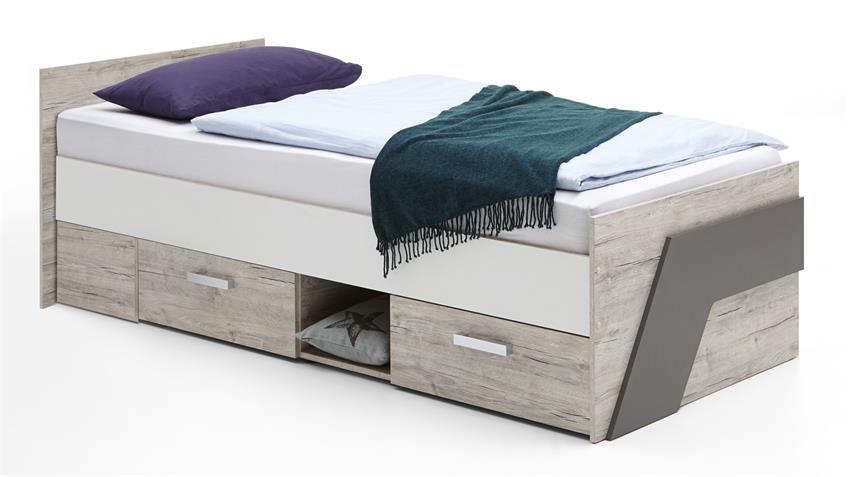 Jugendbett Nona Sandeiche Bettanlage mit Nachtkommoden  90x200 cm