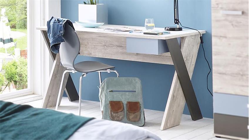 Schreibtisch Nona  Sandeiche weiß mehrfarbig  Jugendzimmer