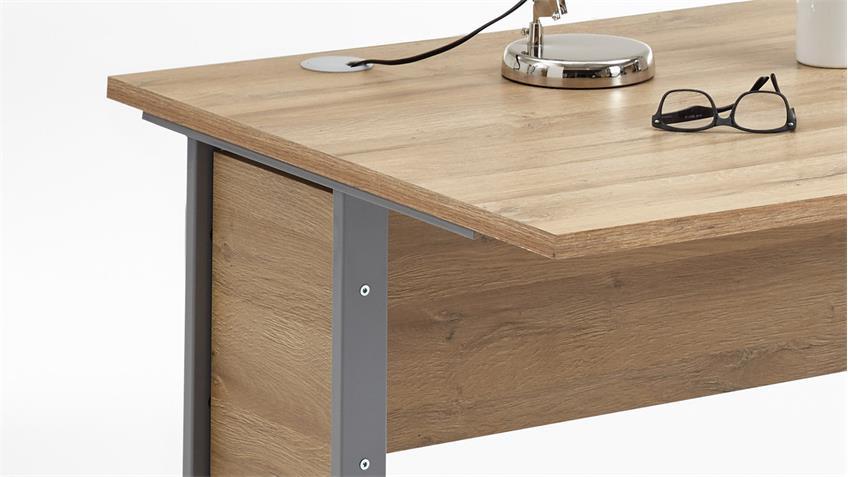 Schreibtisch CALVIA 2 Bürotisch Computertisch Tisch Alteiche 160x80 cm