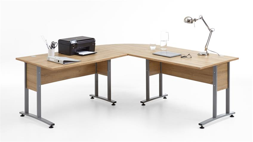 Winkelschreibtisch CALVIA Schreibtisch Winkeltisch Alteiche 200x200 cm