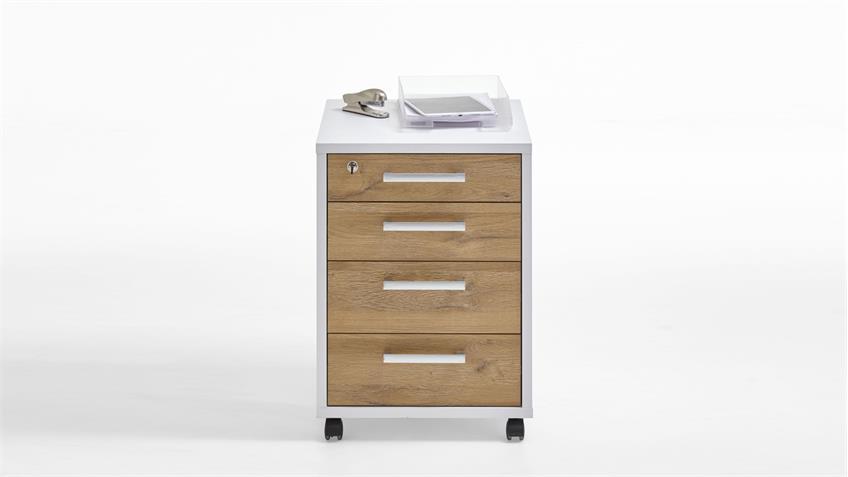 Rollcontainer CALVIA 4 Bürocontainer weiß und Alteiche abschließbar