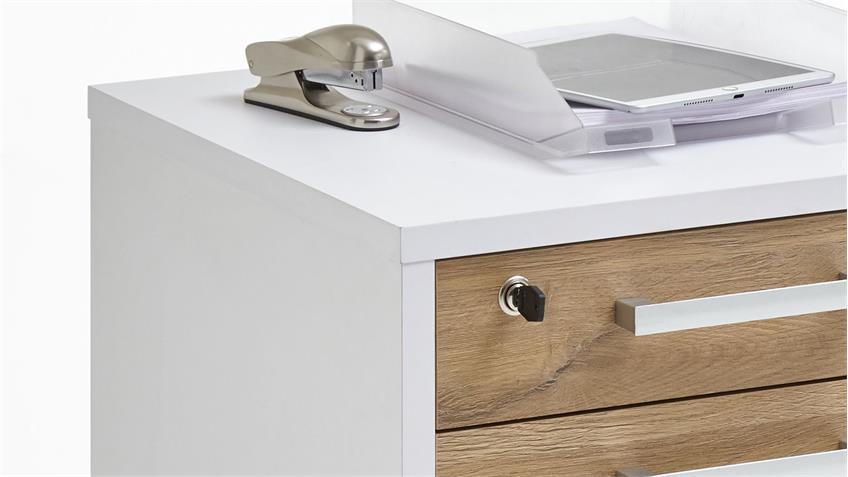 Winkelschreibtisch CALVIA mit Rollcontainer weiß Alteiche 240x200 cm