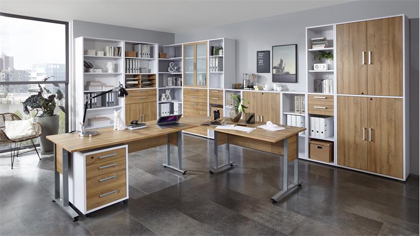 Aktenschrank CALVIA Büroschrank Schrank weiß und Alteiche abschließbar