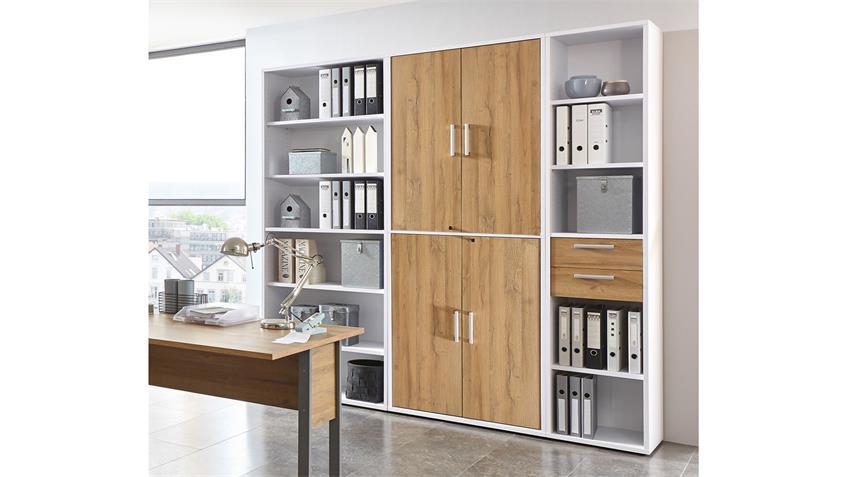Regalwand CALVIA Regal Schrank Büro-Set weiß und Alteiche abschließbar
