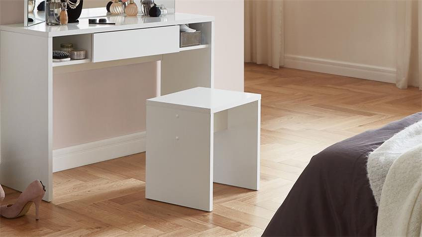 Hocker SCHMINKI Sitzhocker in weiß Edelglanz 40x44 cm