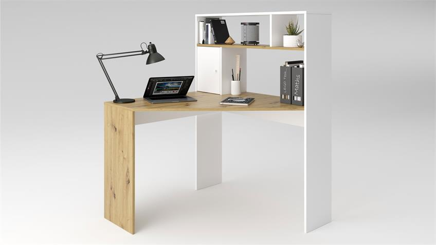 Eckschreibtisch BARRY'S Artisan Eiche weiß matt Schreibtisch