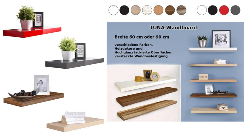 Wandboard 2er Set TUNA 1 Wandregal in Hochglanz rot lackiert