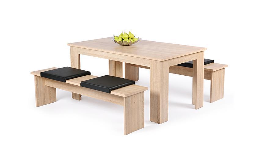 Tischgruppe MÜNCHEN 1 Tisch 2 Bänke in Sonoma Eiche Dekor