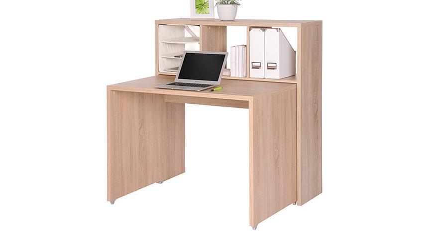 Schreibtisch MAX Regal mit 3 Fächern in Sonoma Eiche
