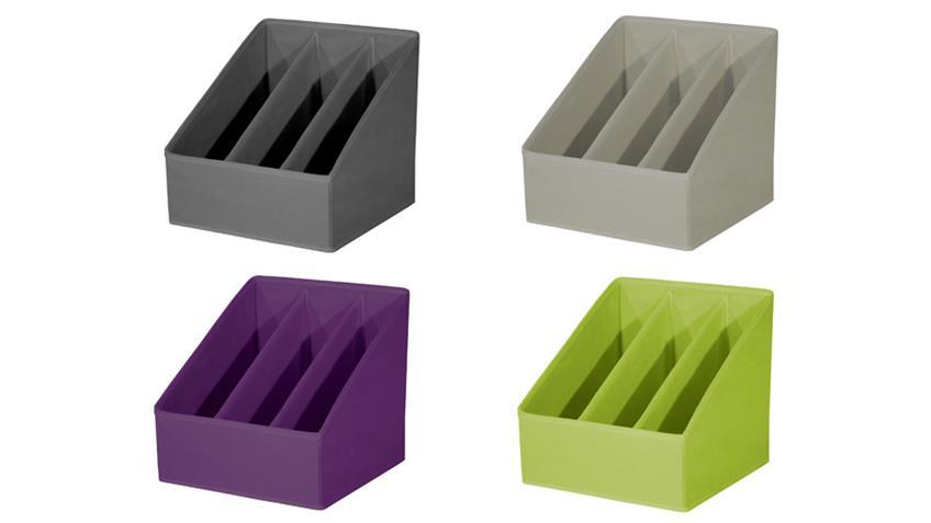 Faltbox FLORI 6 Zeitschriftenhalter mit 3 Fächern anthrazit