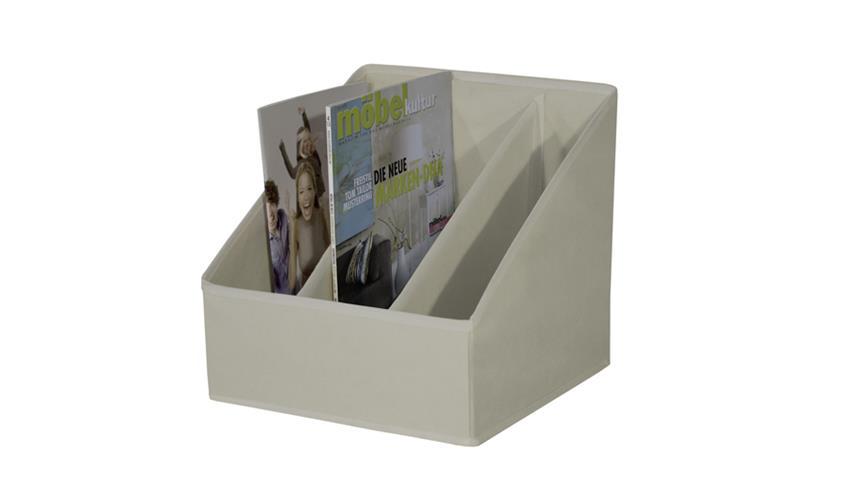 Zeitschriftenhalter FLORI 6 Faltbox Organizer 3 Fächer beige