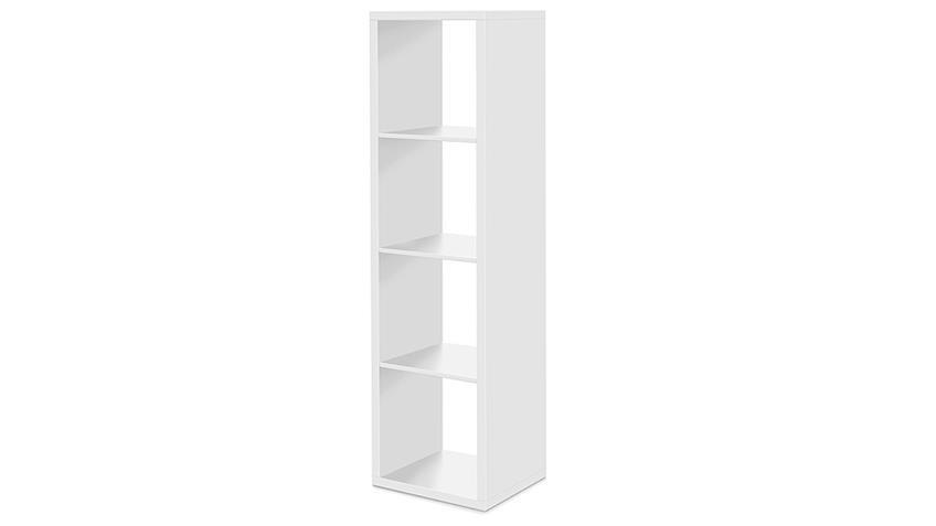 Regal Säule 4er Raumteiler in Weiß Dekor mit 4 Fächern