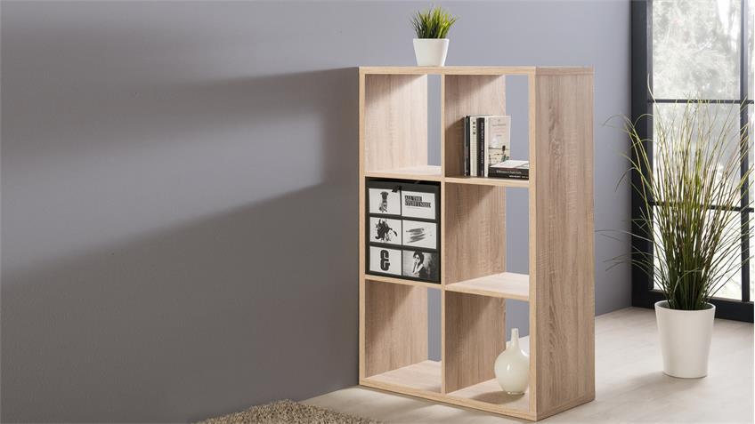 Raumteiler Max Bücherregal in Sonoma Eiche mit 6 Fächern