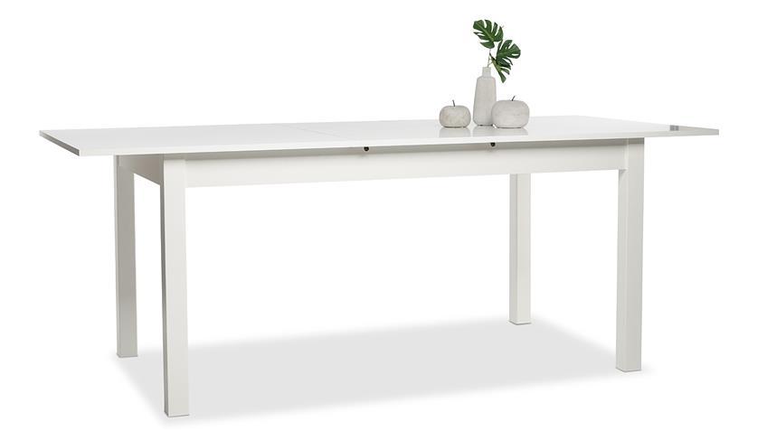 Auszugstisch COBURG in weiß ausziehbar 160-200x90