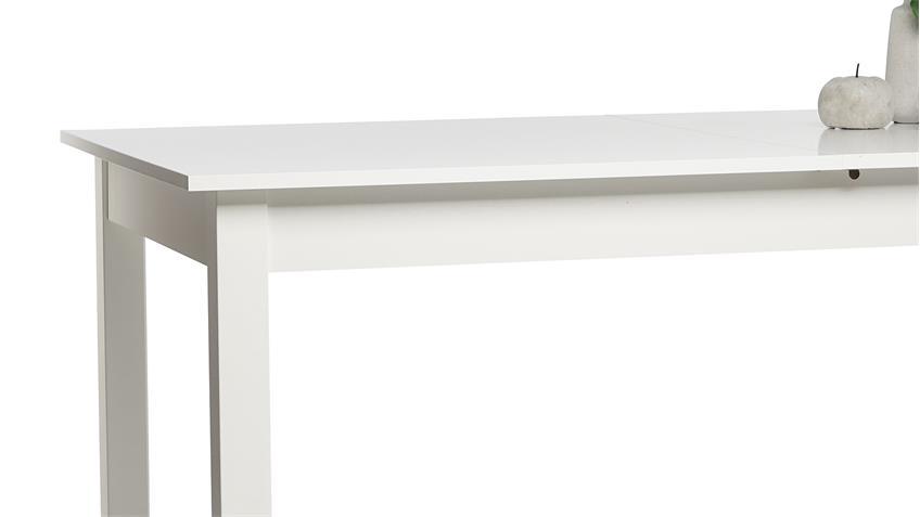 Esstisch COBURG Tisch Küchentisch in weiß ausziehbar 160-200