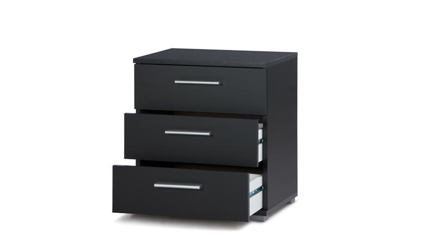 nachtkommode elora nachttisch nako in schwarz mit 3 schubk sten. Black Bedroom Furniture Sets. Home Design Ideas