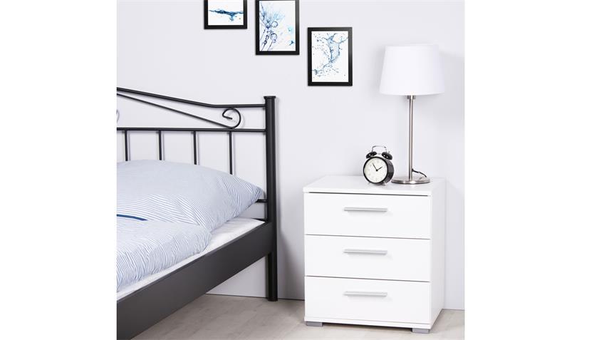 Nachtkommode ELORA 3 Nachttisch Nachtkonsole in weiß Dekor