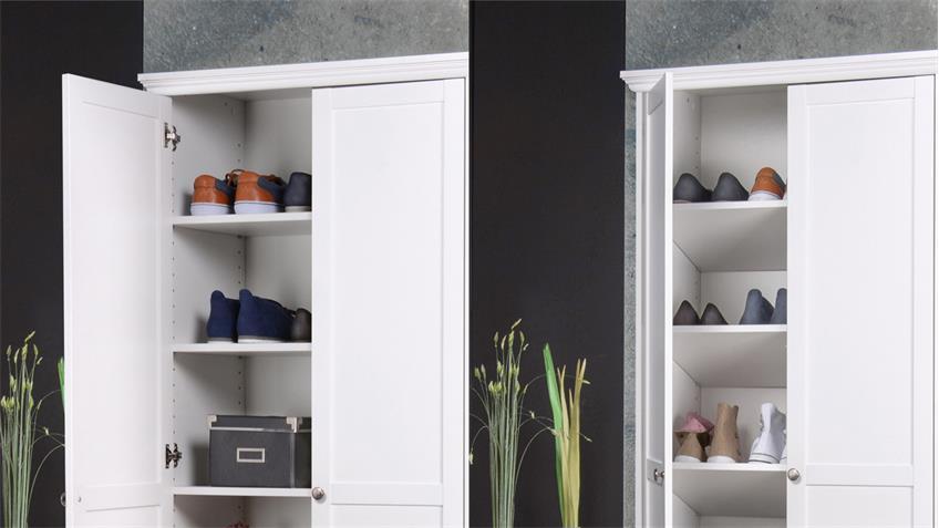 Mehrzweckschrank Landhausstil Landwood Schrank weiß mit 2 Türen