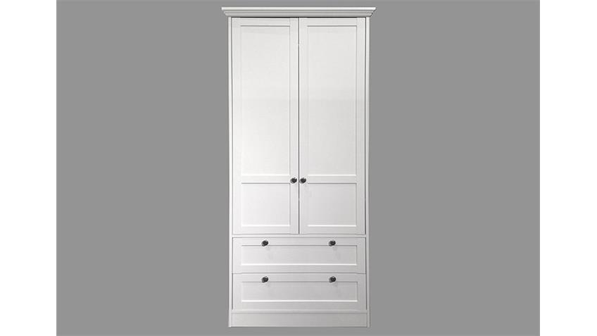 Kleiderschrank LANDWOOD in Weiß Landhausstil 2 Türen