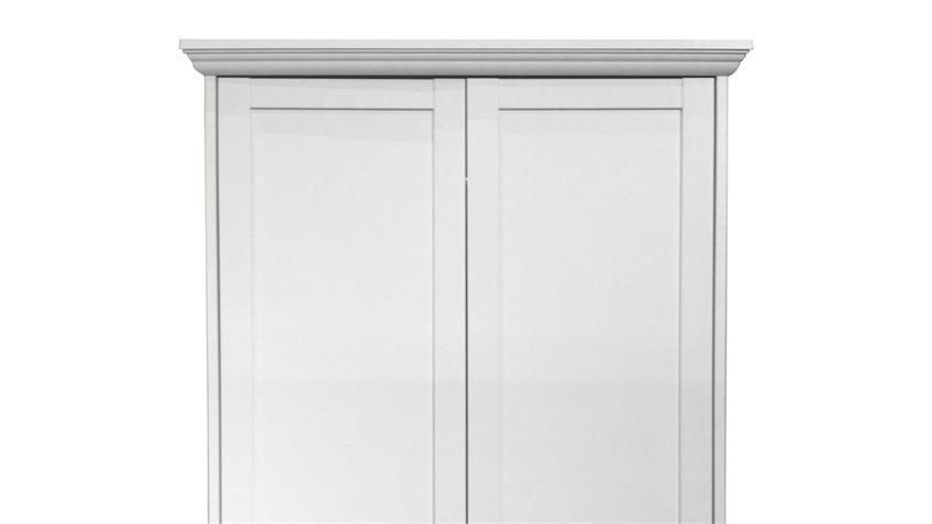 Kleiderschrank LANDWOOD Schrank in weiß mit 2 Schubkästen Landhausstil