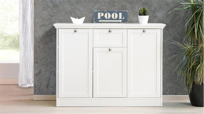 Kommode LANDWOOD Sideboard Anrichte in weiß mit 3 Türen Landhausstil