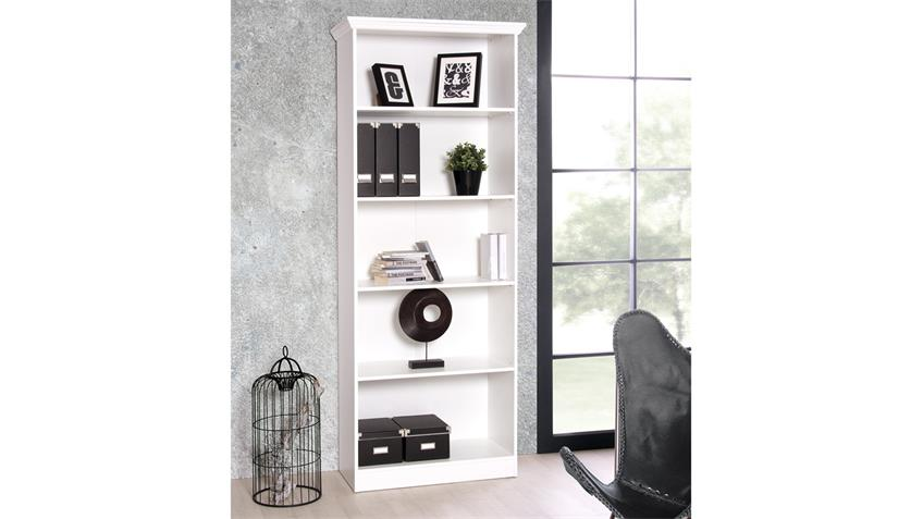 Regal LANDWOOD Bücherregal in weiß mit 5 Fächern 80 cm Landhausstil