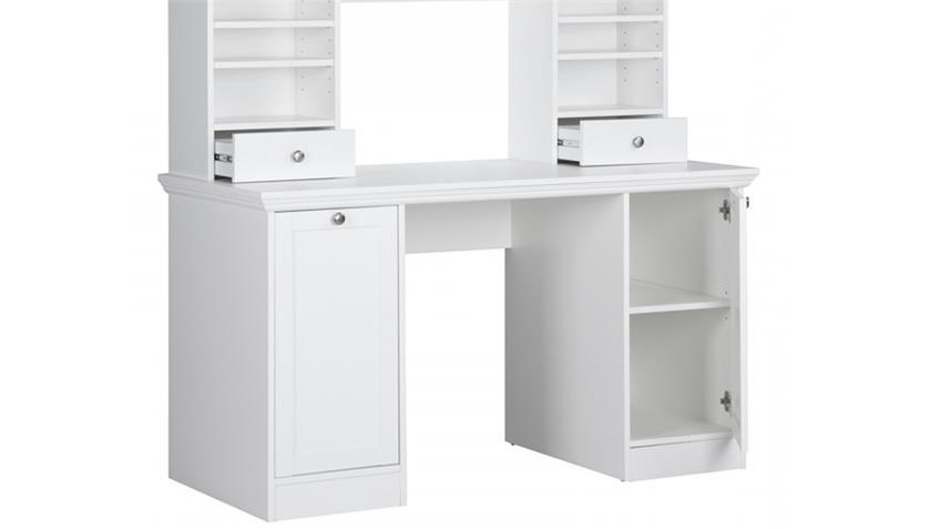 schreibtisch landwood 33 mit aufsatz wei landhausstil. Black Bedroom Furniture Sets. Home Design Ideas