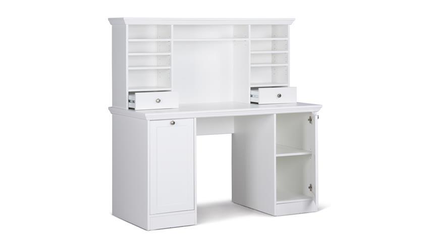 Schreibtisch LANDWOOD in weiß mit Aufsatz 136x137 cm Landhausstil