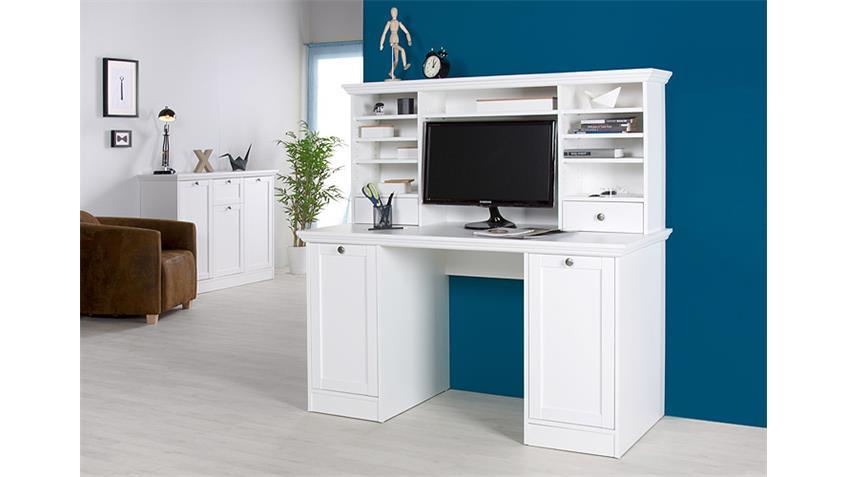Schreibtisch LANDWOOD 33 mit Aufsatz Weiß Landhausstil