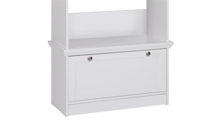 Kompaktgarderobe LANDWOOD Garderobe in weiß mit 4 Haken Landhausstil