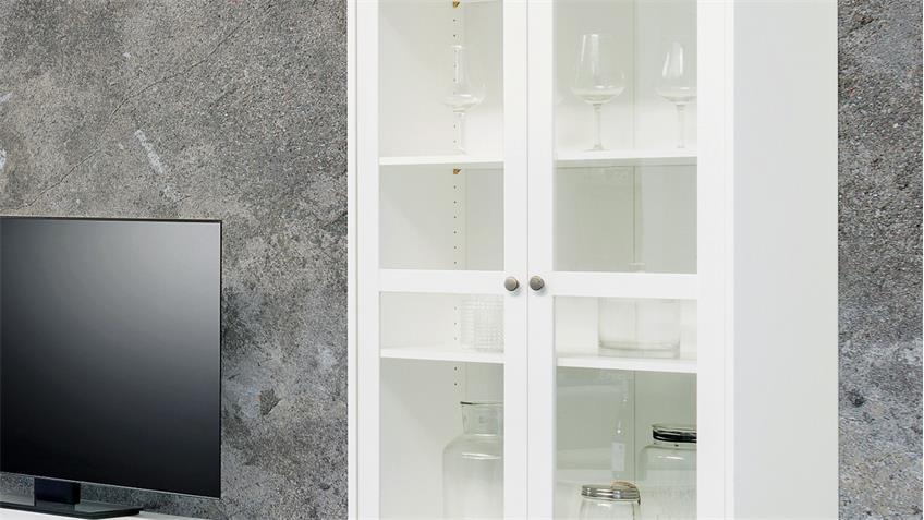 Vitrine LANDWOOD Standvitrine in weiß mit 2 Schubkästen Landhausstil